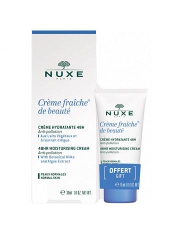 Нюкс Крем Фреш Де Ботэ Набор Крем для лица увлажняющий 48 часов 30 мл + 15 мл Nuxe Creme Fraiche De Beaute creme hydratante 48H (106242)